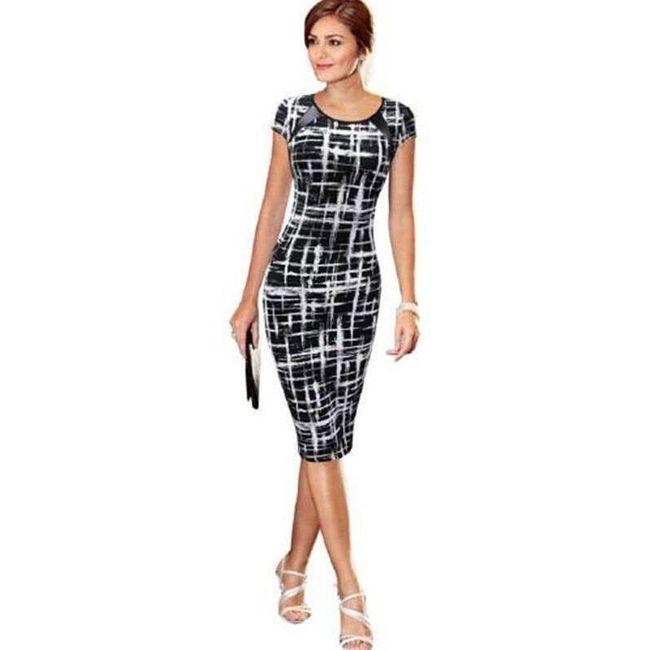 Elegantna ženska obleka s skaj okrasom na ramenih 1