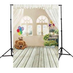 Fundal studio foto 90 x 150 cm - Cameră cu ferestre și ursuleț