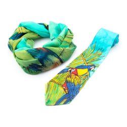 Souprava kravaty a šály Papoušci