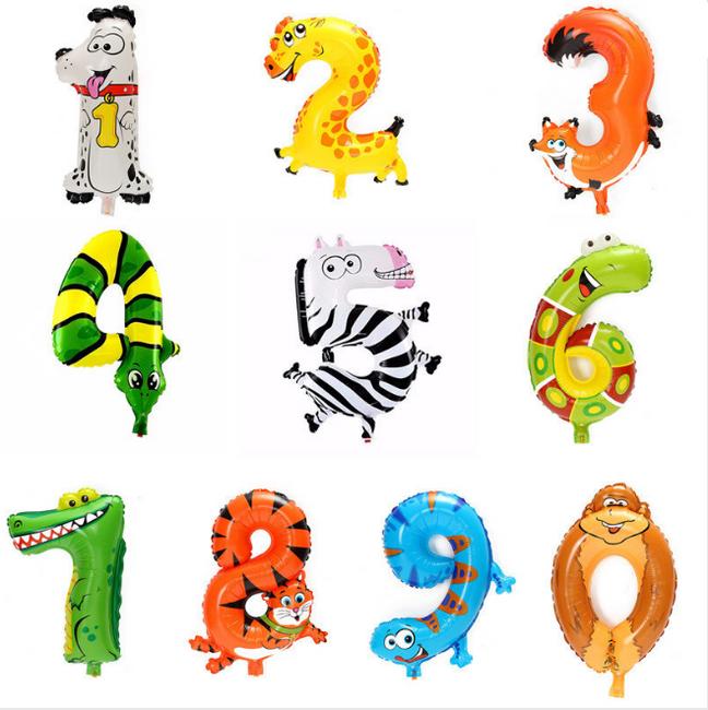 Воздушный именинный шар в форме животного-цифры 1