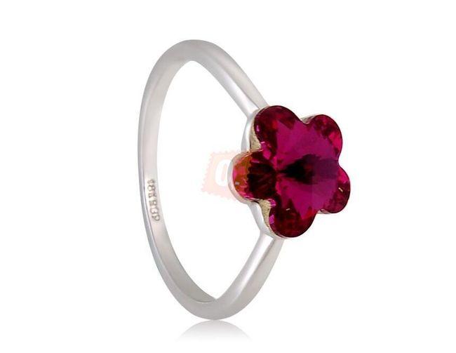 Prstýnek s vínovou květinou - stříbrná barva 1
