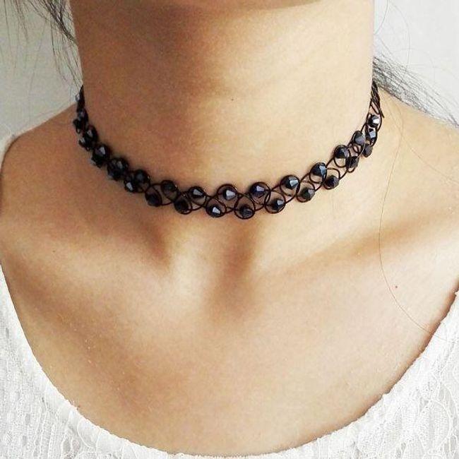 Kötött nyaklánc strasszokkal lányoknak 1