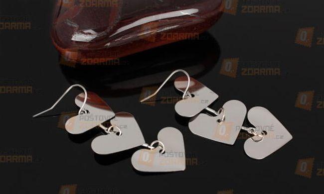 Hosszú fülbevaló három szívvel 1