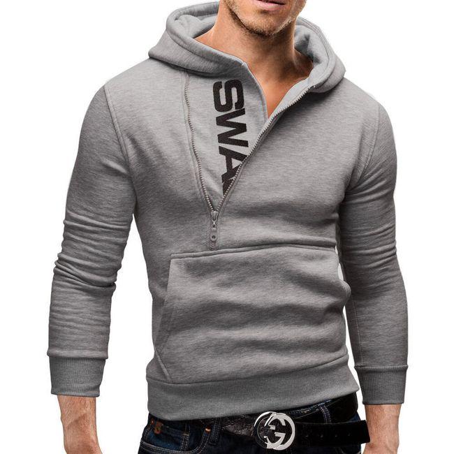 Férfi pulóver érdekes cipzár díszítéssel
