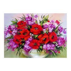 Obraz DIY z kamyczków - doniczka z kwiatami