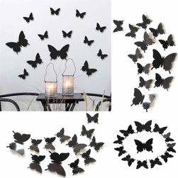 3D бабочки для декора стены- черный цвет