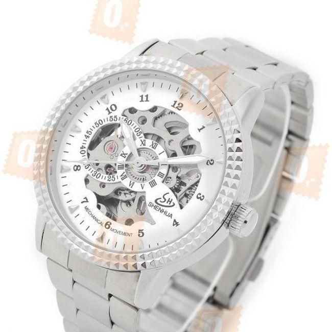 Samonatahovací analogové hodinky z nerezové oceli pro muže 1