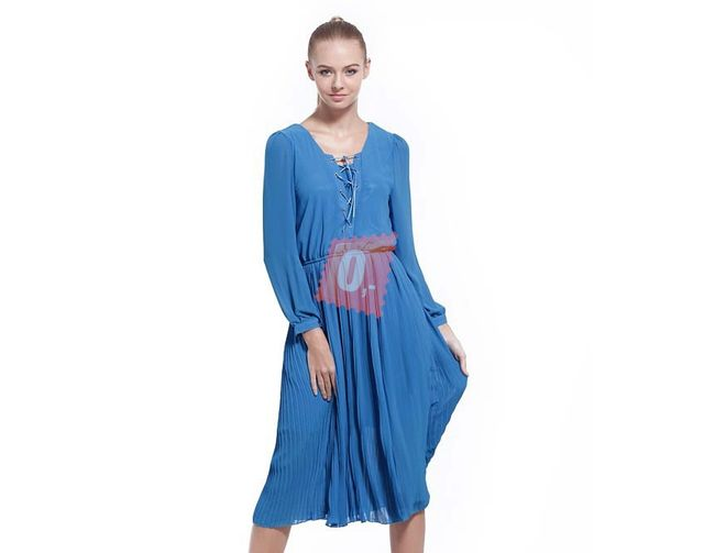 Dámské letní šaty s dlouhým rukávem v modré barvě - vel. S 1