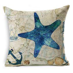 Față de pernă cu motive marine albastre