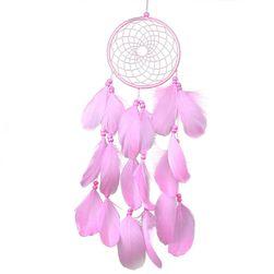 Růžový lapač snů s peříčky