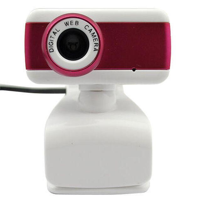 Webkamera s mikrofonem a klipem pro přichycení - červenobílá 1