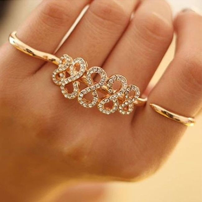 Podwójny pierścionek z kamyczkową dekoracją 1
