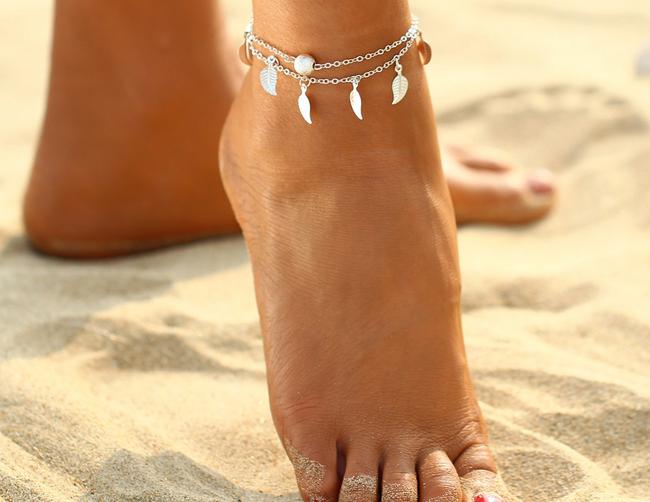 Dámský náramek na nohu s lístečky 1