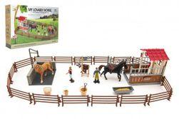 """Výbeh / Ohrada pre kone + ošetrovatelia + kôň 2ks plast s príslušenstvom v krabici 39x27x8,5cm """" RM_00850392"""