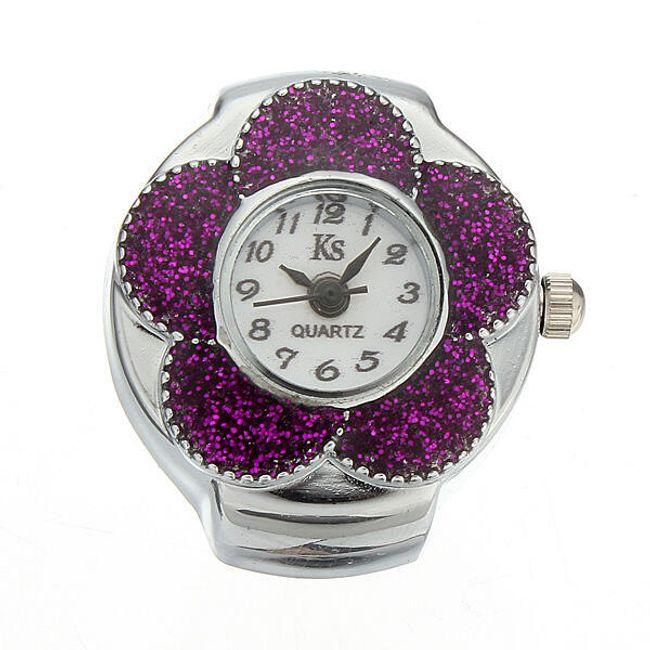 Pierścionek z fioletowym kwiatkiem - zegarek 1