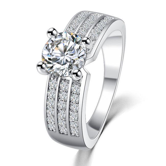 Dámský prstýnek s čirými kamínky - 2 barvy 1