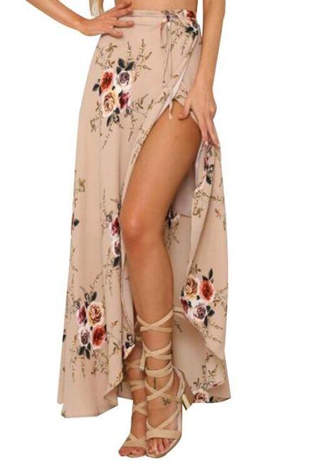 Dlouhá květovaná sukně s rozparkem 1