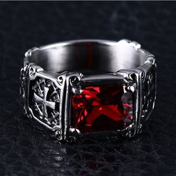 Pánský prsten s červeným kamínkem - 6 velikostí