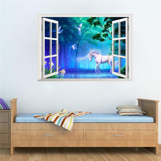 3D stenska nalepka 50 x 70 cm - Samorog v pravljičnem svetu 1