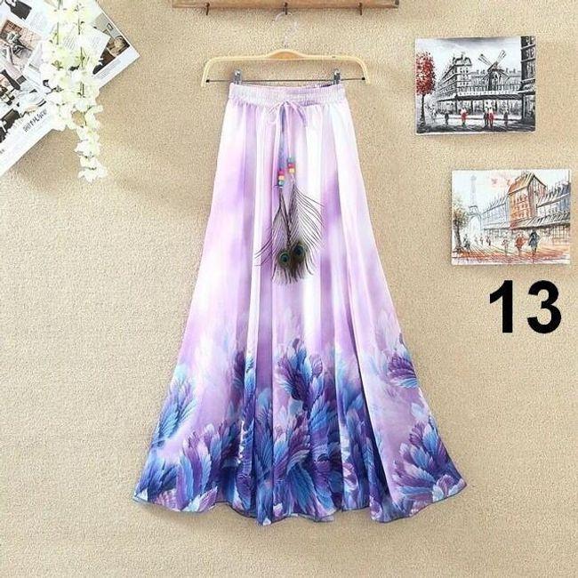 Lehoučká dlouhá sukně na jaro i léto - varianta 13 1