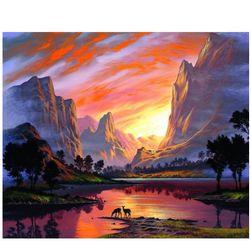 Festés számok alapján - táj a hegyekben