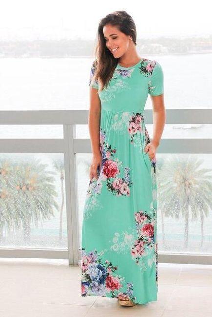 Dlouhé květované šaty Selena - 0494 Zelená-L 1