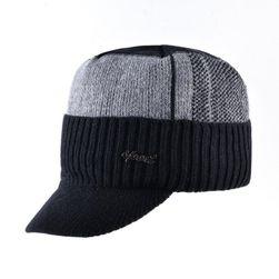 Pánská zimní čepice s kšiltem - černá barva