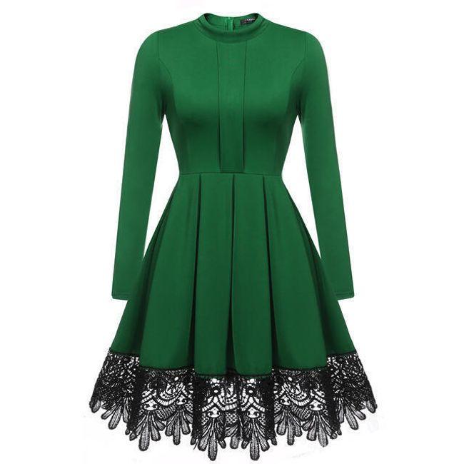 Šaty s dlouhými rukávy s krajkovým zdobením 1