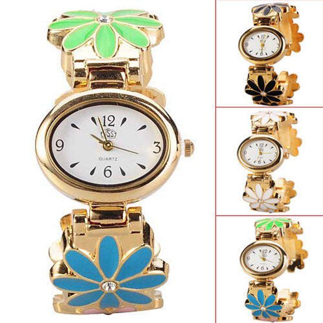 Dámské náramkové hodinky zdobené barevnými květy 1