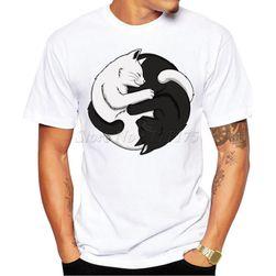 Pánské tričko s potiskem černé a bílé kočky