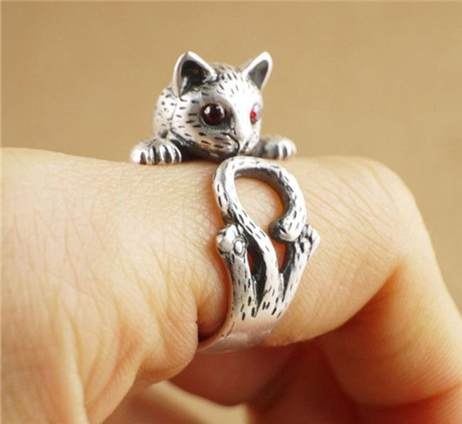Vintage prsten ve tvaru kočky - různé barvy 1