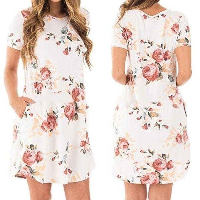 Letní šaty s motivem květin - Bílá-velikost č. 5 1