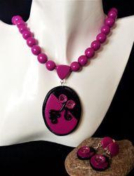 Sada šperků černo purpurová