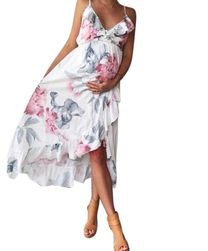 Letní asymetrické šaty pro těhotné