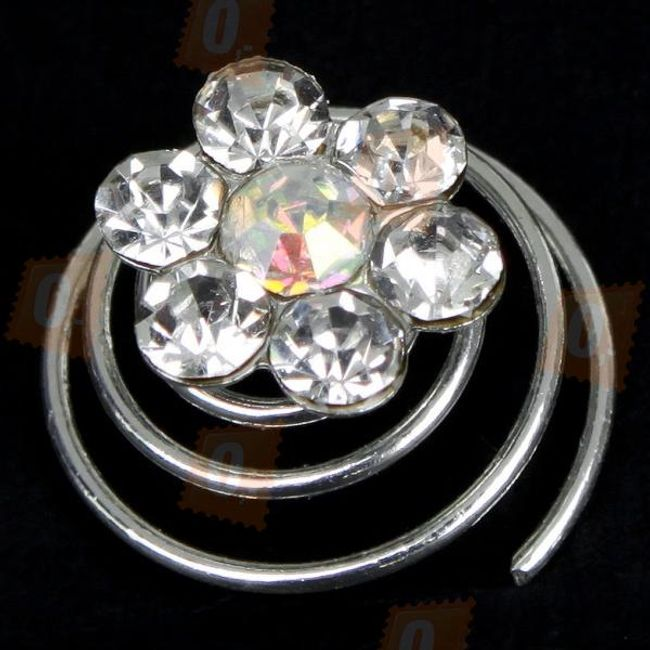 Hajdísz virág formájú, csillogó kövekkel díszítve - 12 darab 1