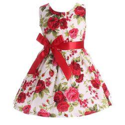 Kwiatowa sukienka  z kokardą dla dziewczynek - 7 wariantów