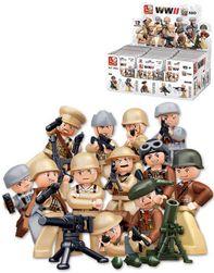 SLUBAN ARMY WWII Mini figurka voják 12 druhů set s doplňky ke stavebnici plast SR_891379