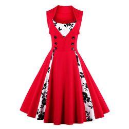 Retro obleka  s pikami rdeča bela S/M