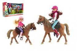 Kůň 2ks + panenka žokejka 2ks plast v krabici 44x26x12cm RM_00850387