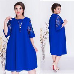 Dámské šaty plus size Eugenia Modrá - velikost 10