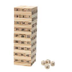 """Očíslovaná """"Jenga věž"""" + 4 hrací kostky"""