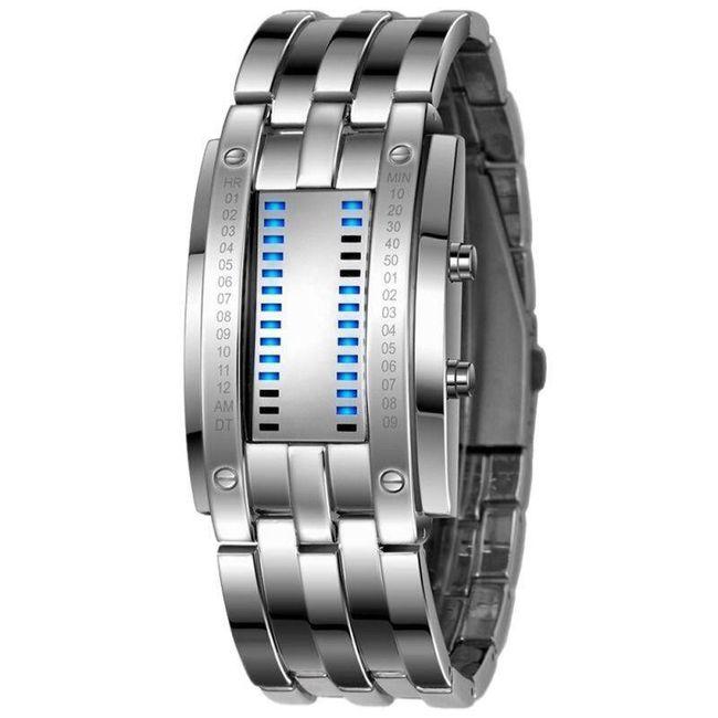 Muški metalni binarni sat - 2 boje 1