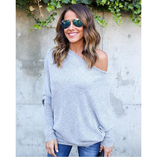 Dámský svetr s širokým výstřihem - 3 barvy 1
