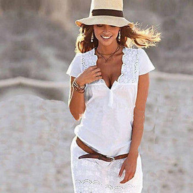Mini bela obleka s čipkami in globokim izrezom - različnih velikosti 1