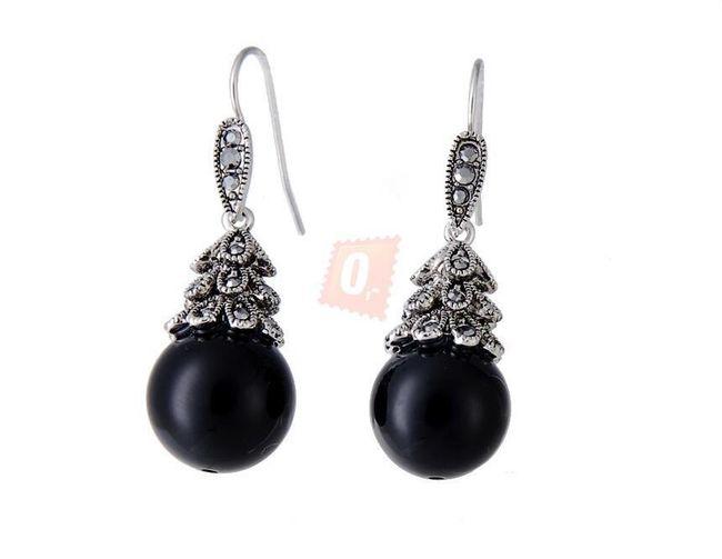 Elegantní perlové náušnice - černé 1