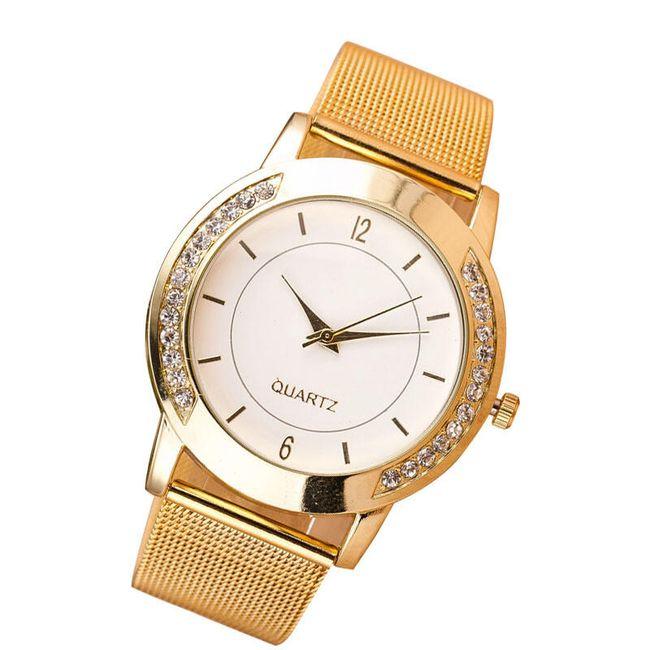 Dámské hodinky s kamínky ve zlaté barvě 1