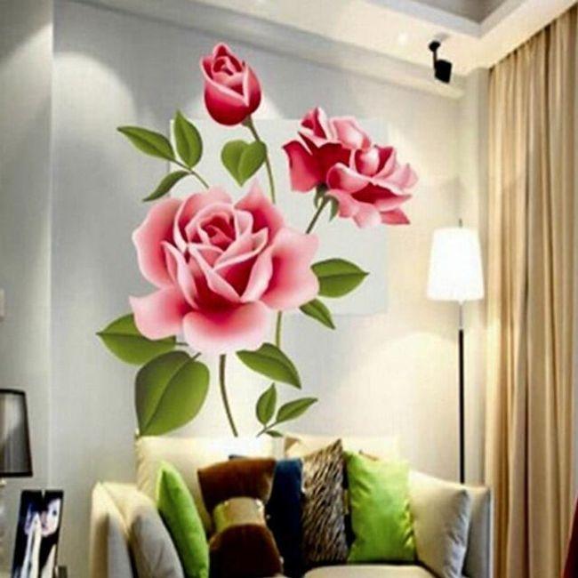 Романтичен голям стикер на стена - роза 1