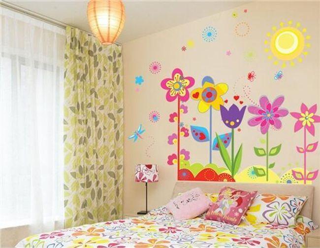 Naklejka naścienna z kolorowymi kwiatami 1