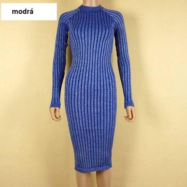Pletené šaty - Modrá 1