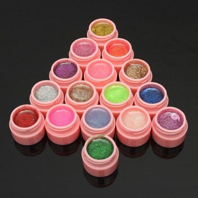 Набор цветных гелей для ногтей - 16 штук 1